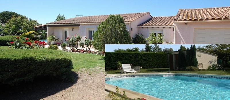 Villa plain-pied piscine Carcassonne grand garage
