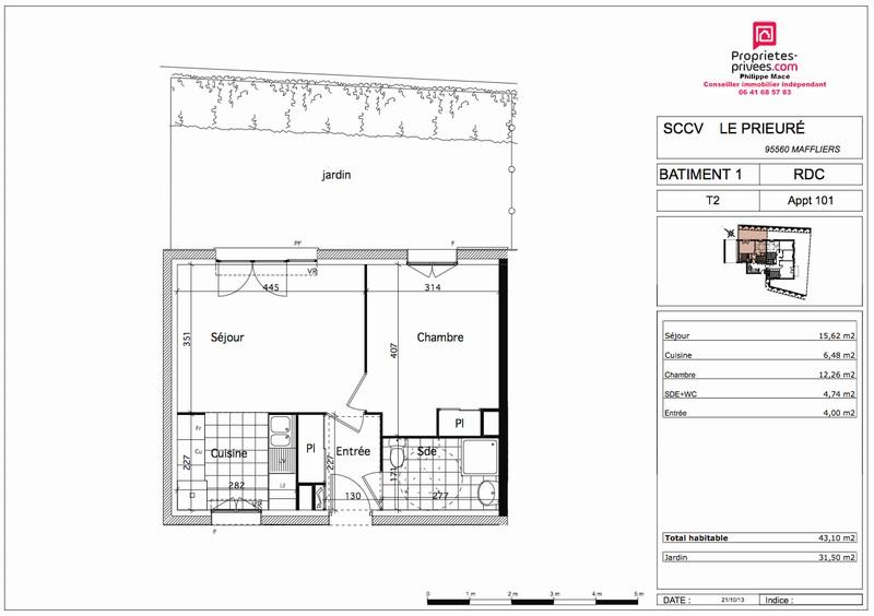 Appartement T2 - 43m2 - MAFFLIERS (95560)