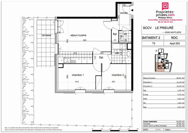 Appartement T3 - 63m2 - MAFFLIERS (95560)