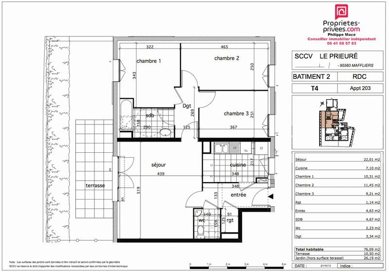 Appartement T4 - 76m2 - MAFFLIERS (95560)