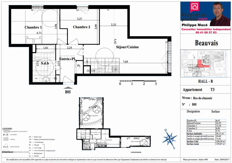 Appartement T3 - 59m2 - BEAUVAIS (60000)