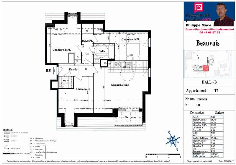 Appartement T4 - 85m2 - BEAUVAIS (60000)