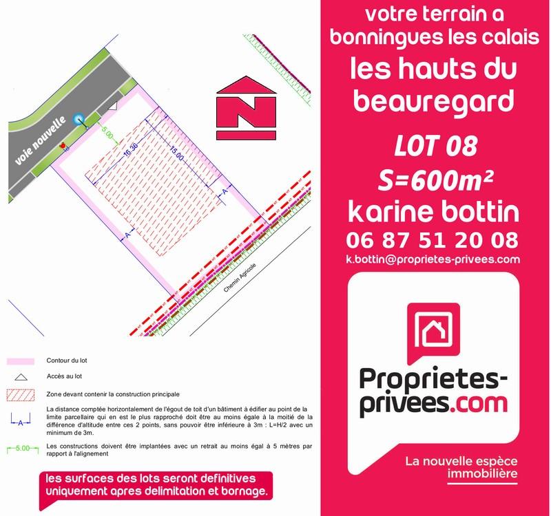 Terrain à vendre 600m² BONNINGUES LES CALAIS
