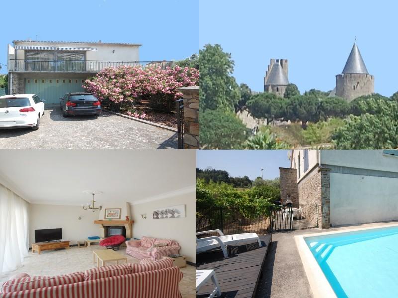 Maison au pied de la cité de Carcassonne piscine