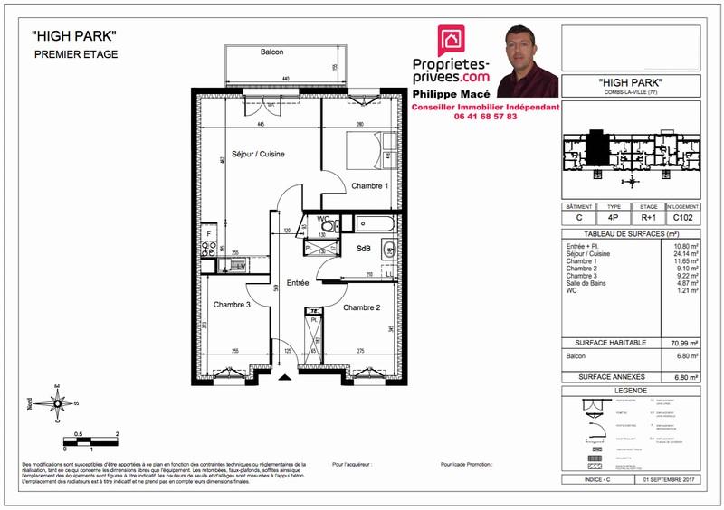 Appartement T4 - 71m2 - 77380 COMBS LA VILLE