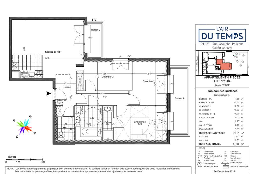 Appartement T4 - 79m2 - ANTONY (92160)