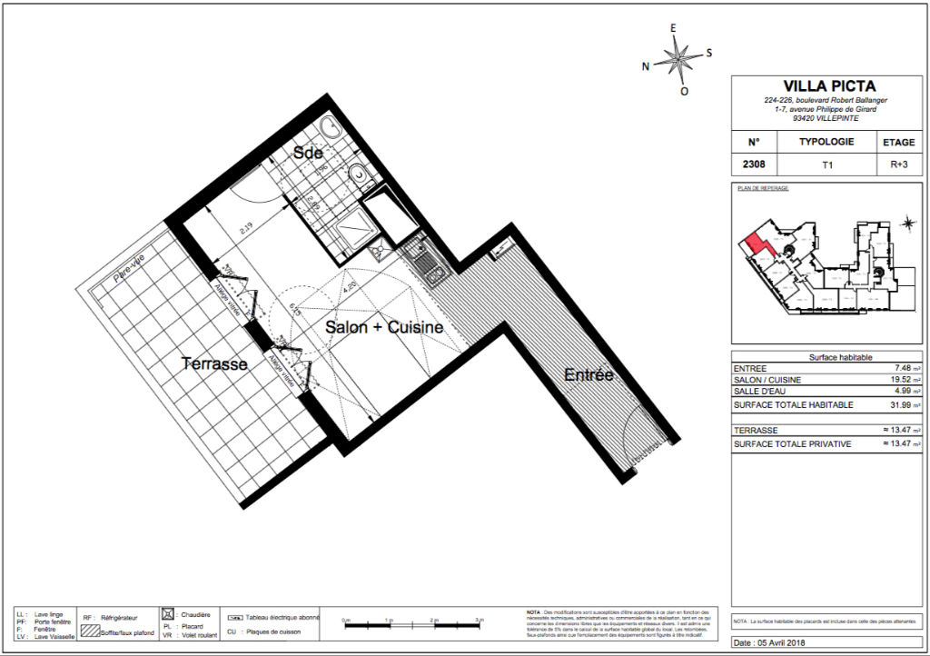 Appartement T1 - 32m2 - VILLEPINTE (93420)