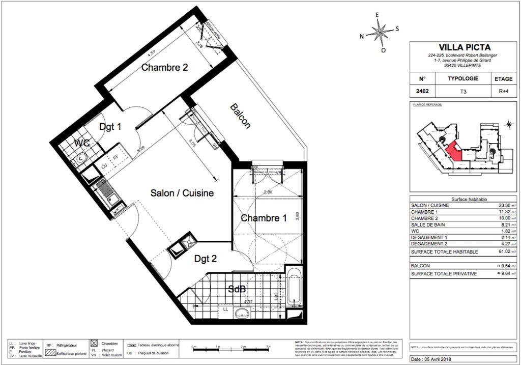 Appartement T3 - 61m2 - VILLEPINTE (93420)