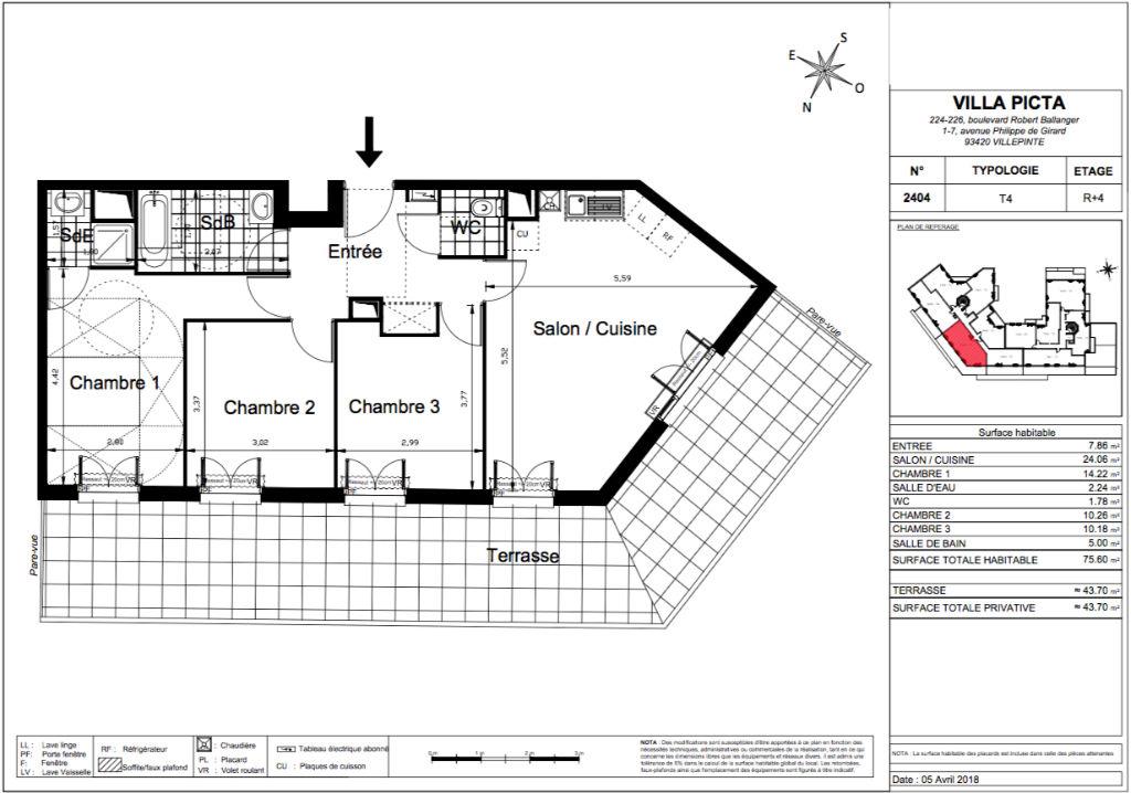 Appartement T4 - 75m2 - VILLEPINTE (93420)