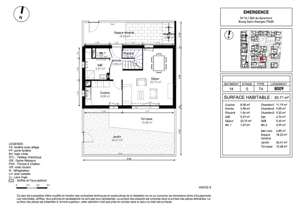 Maisons 4 pièces - 83m2 - BUSSY ST GEORGES (77600)
