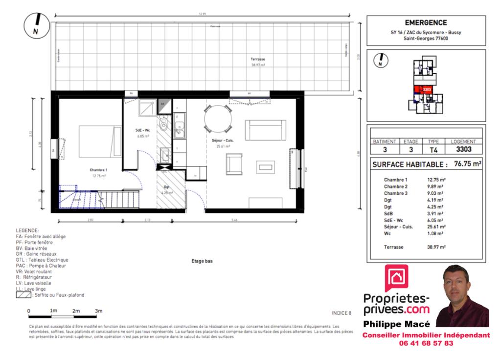 Appartement T4 Duplex - 76m2 - BUSSY ST GEORGES (77600)