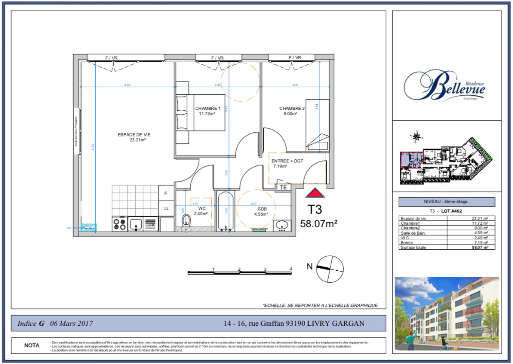 Appartement T3 - 58m2 - LIVRY GARGAN (93190)
