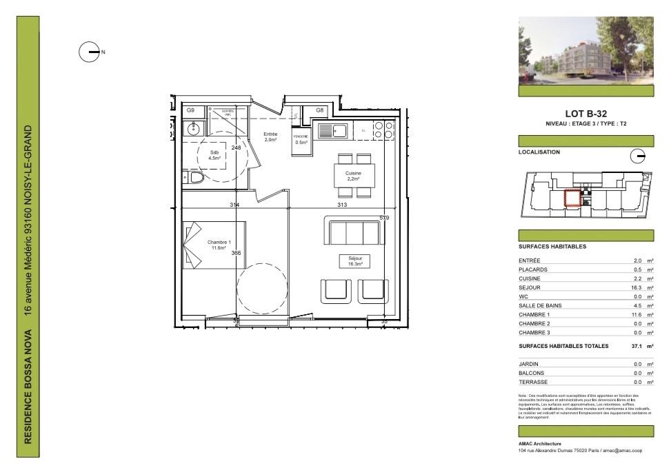 Appartement  2 pièces 37.10 m2 dans résidence de standing
