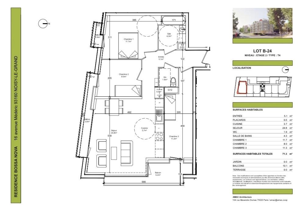 Appartement 4 pièces 71.30 m2 dans résidence de standing