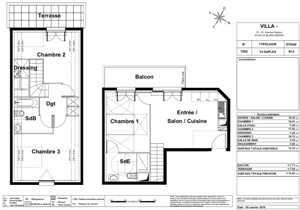 Appartement T4 duplex - 72m2 - LE BLANC MESNIL (93150)