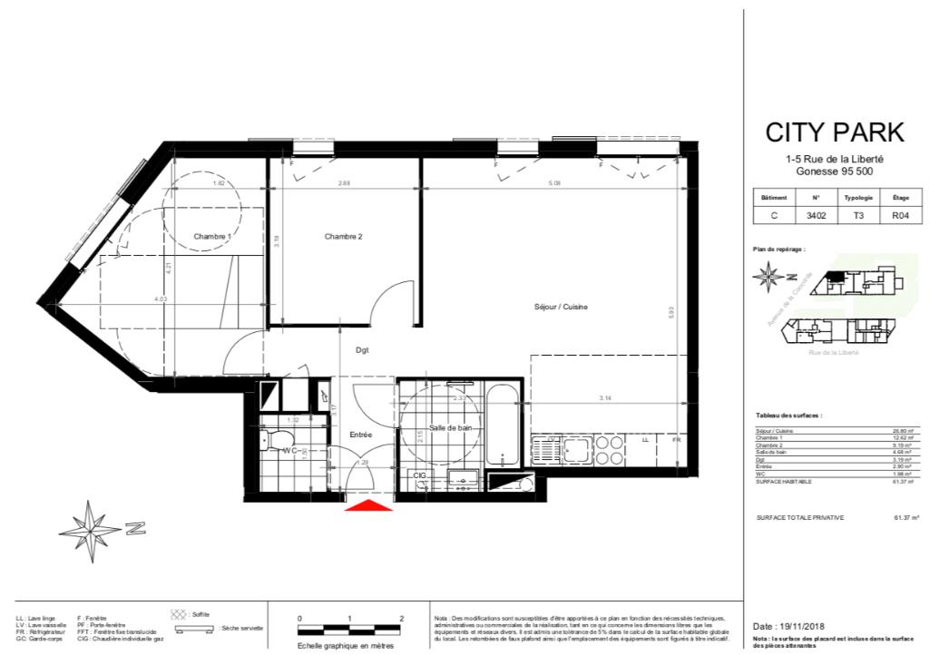 Appartement T3 - 61m2 - 95500 GONESSE