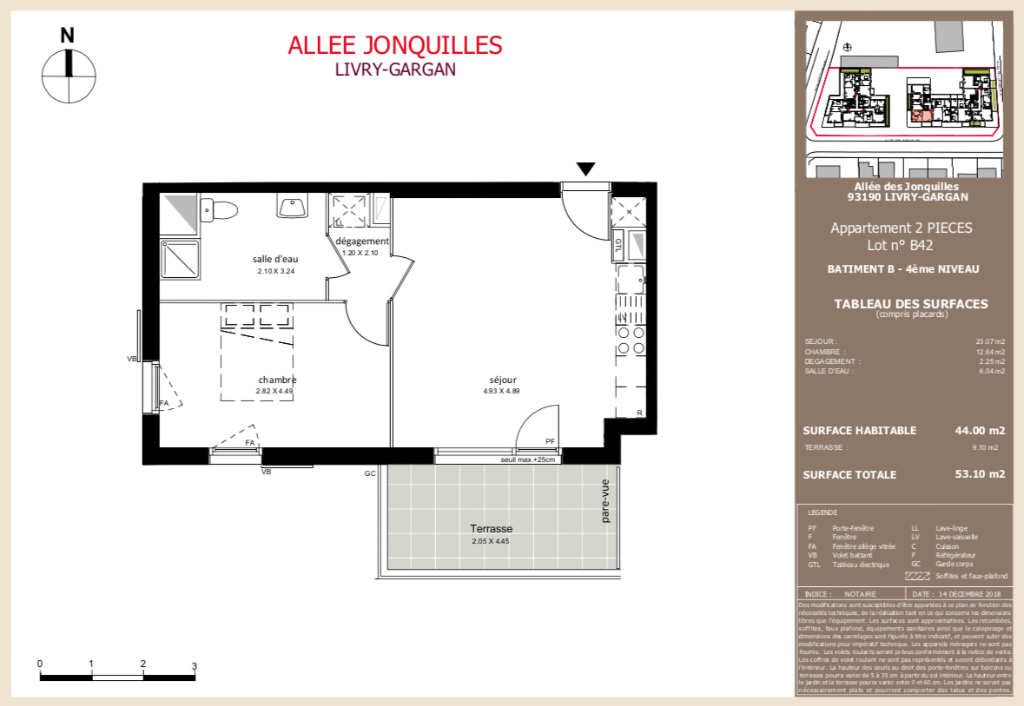 Appartement T2 - 44m2 - LIVRY GARGAN (93190)