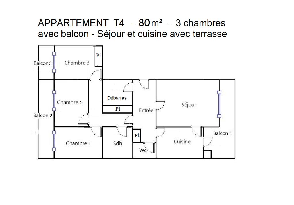 Appartement T4 de 79m2 - 3 chambres - Terrasses - Parking