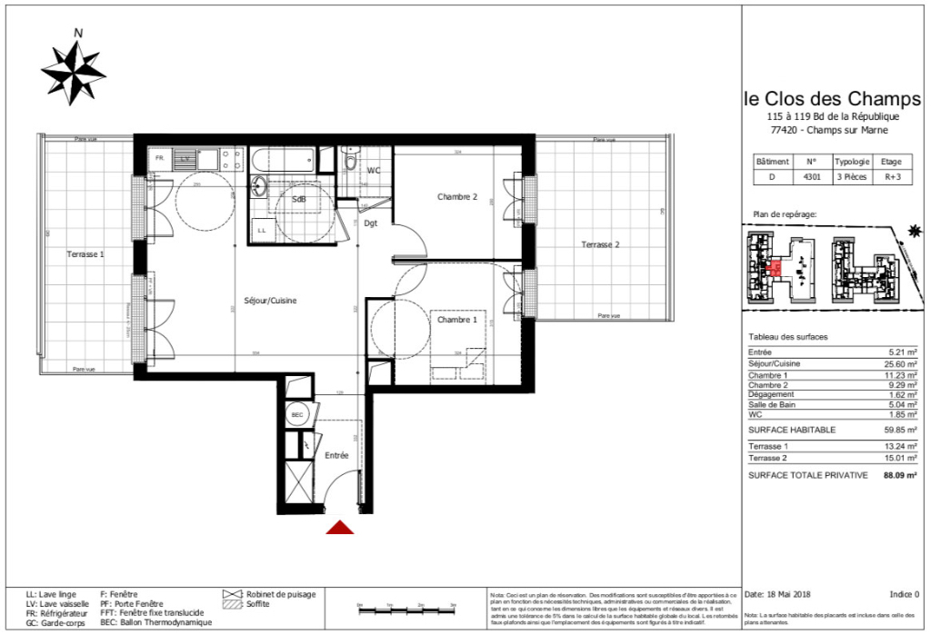 Appartement T3 - 60m2 - 77420 CHAMPS SUR MARNE