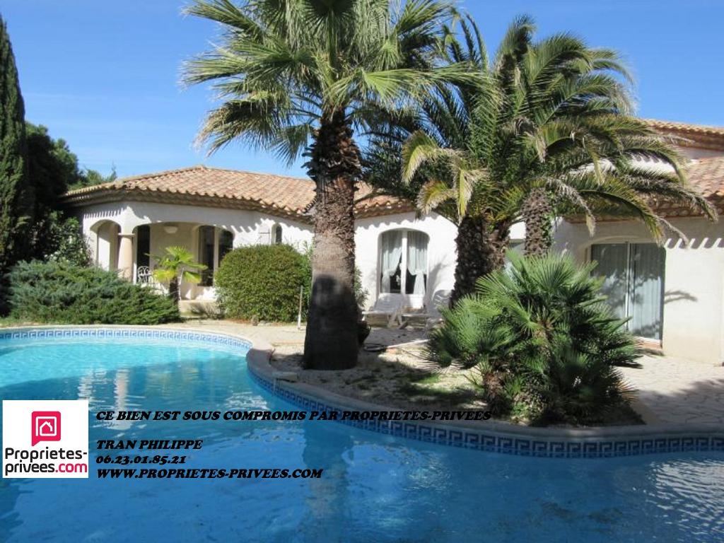 Villa  T4 plain pied de 155m² habitable avec piscine et jardin de 1100m²