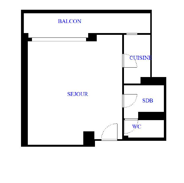Appartement type Studio avec balcon de 26 m²