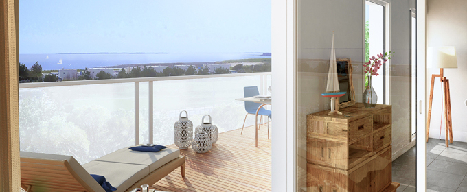 Appartement Expo Sud 2 Chambres, La Rochelle 3 pièce(s) 89.80 m2 et Balcon de 11.95m2