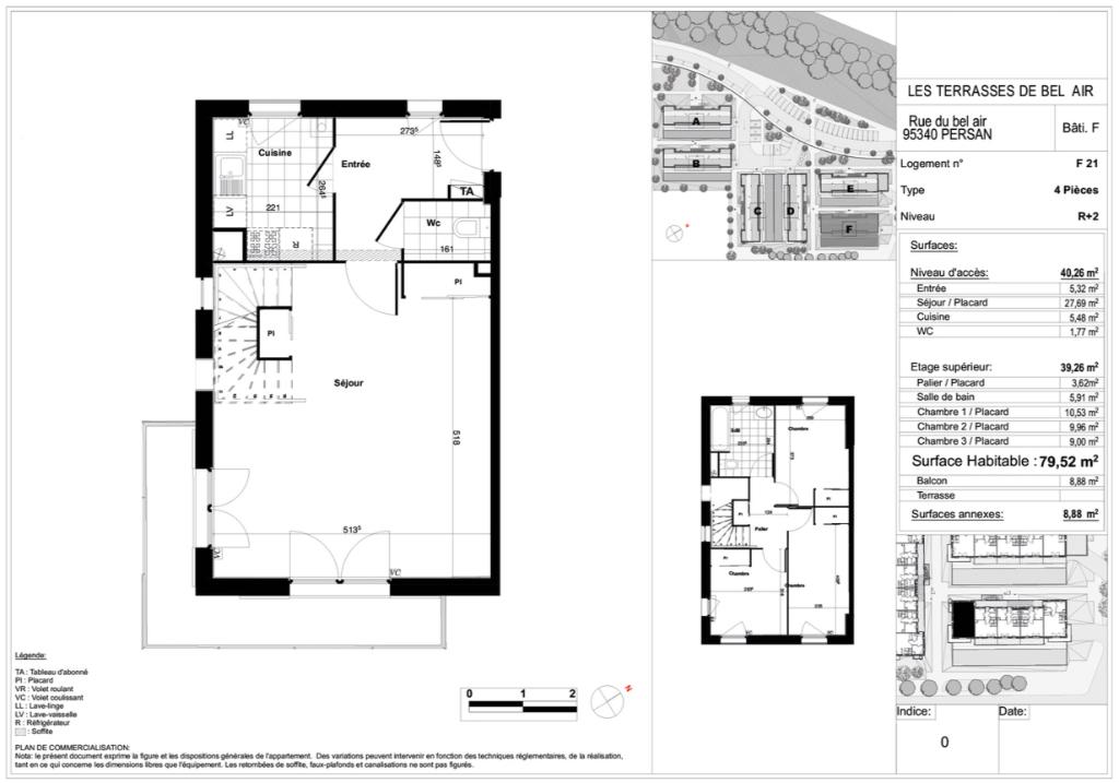 Appartement T4 duplex - 79m2 - PERSAN (95340)