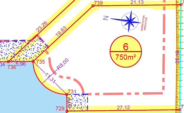 Terrain à bâtir, 750m², viabilisé, lot  N°6