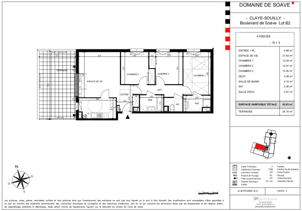 T4 dernier étage - terrasse - 82m2 - 77410 CLAYE SOUILLY