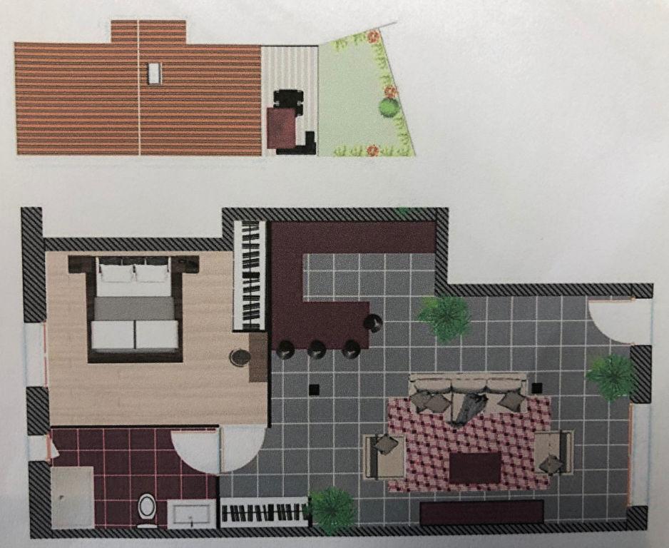 Plage à pied , maison  2 pièces avec terrasse et jardin