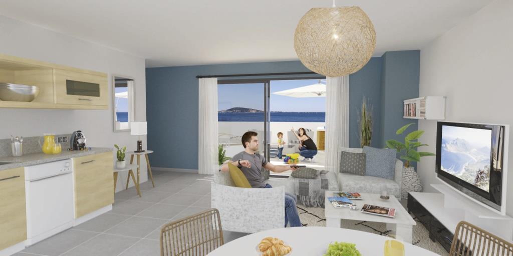 Appartement T2- 151 000 euros -34140 Mèze- 43.63m² + 35 m² de terrasse