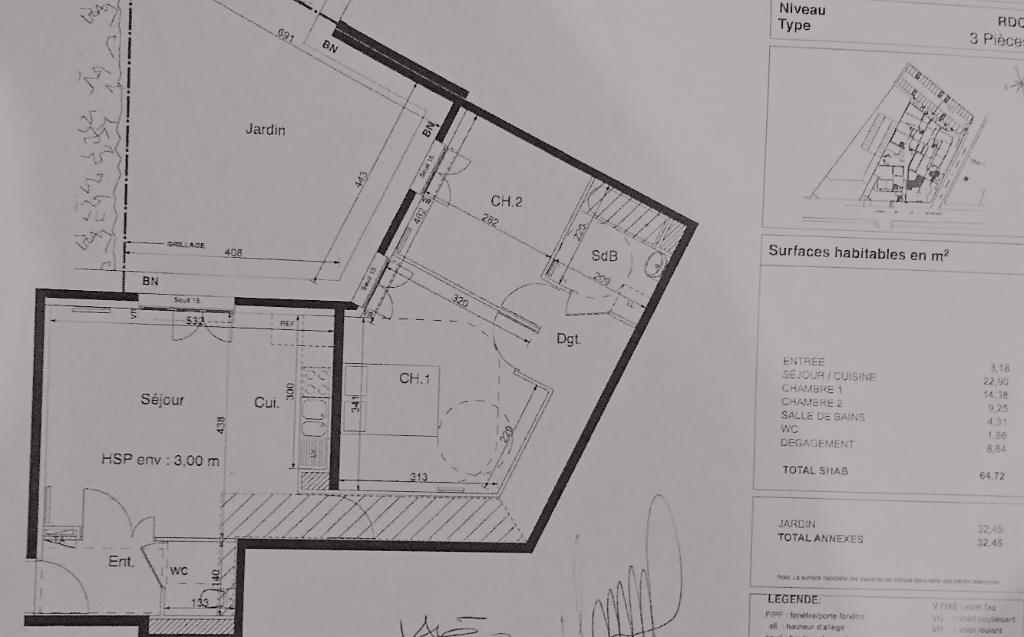 Appartement  3 pièces 65 m² + 2 places de stationnement