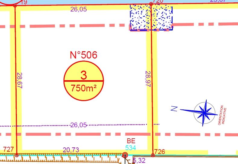 Terrain à bâtir, 750m², viabilisé, lot  N°3