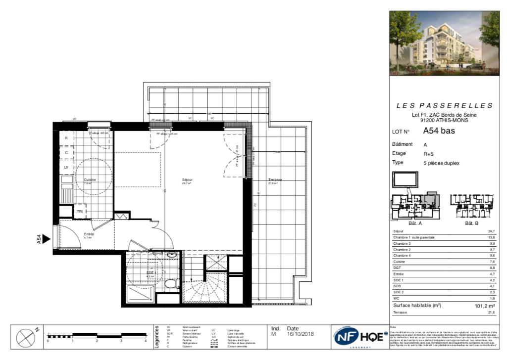 Appartement T5 duplex - dernier étage - terrasse