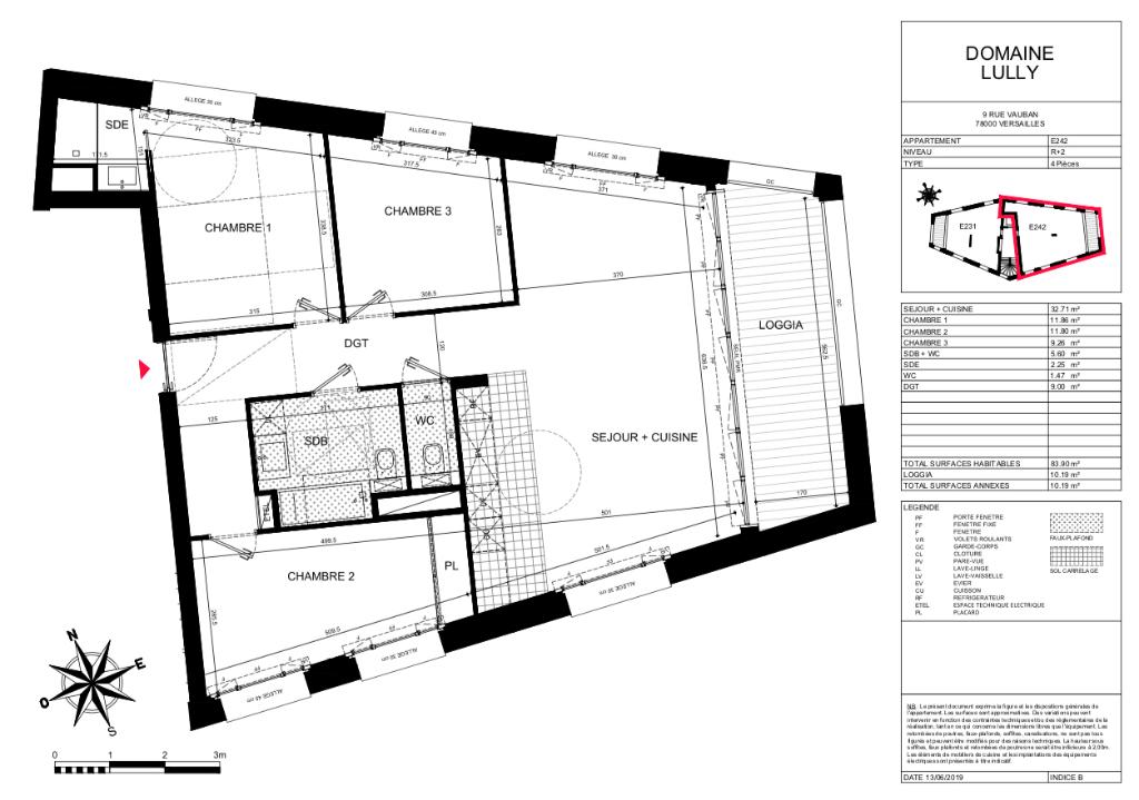 T4 - 84m2 - Dernier étage - 78000 VERSAILLES
