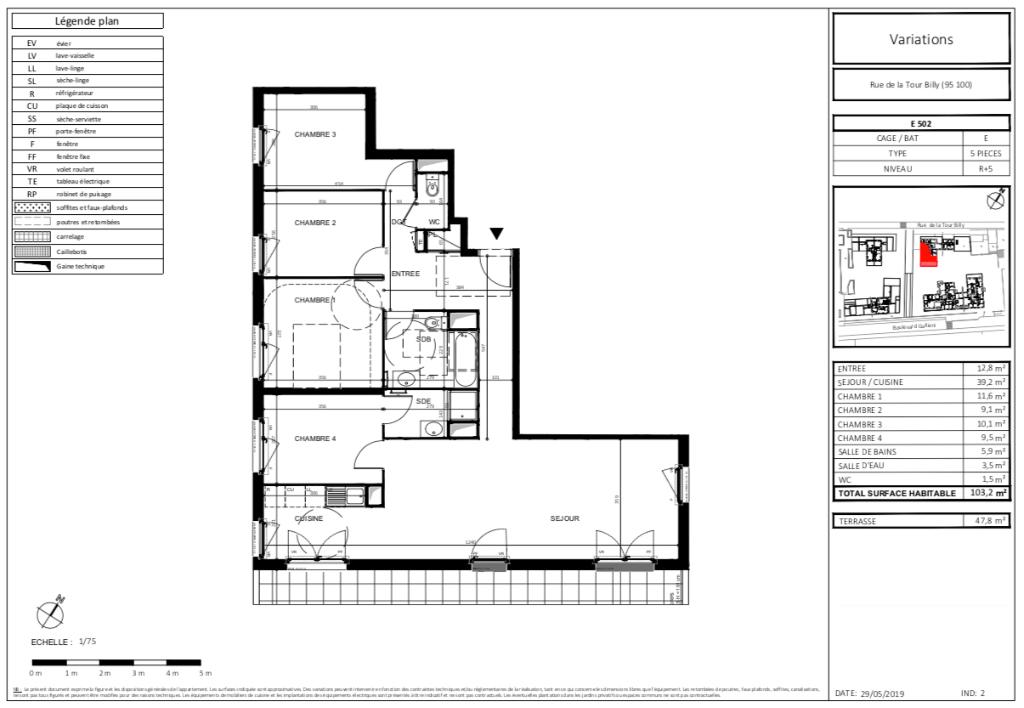 T5 - 103m2 - terrasse - 95100 ARGENTEUIL