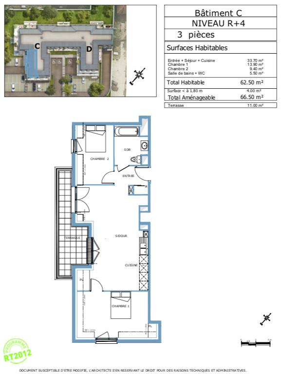 Appartement T3 - 62m2 - dernier étage - DAMMARIE-LES-LYS (77190)