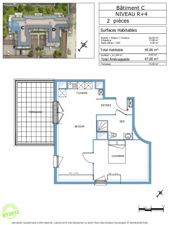 Appartement T2 - 47m2 - dernier étage - DAMMARIE-LES-LYS (77190)