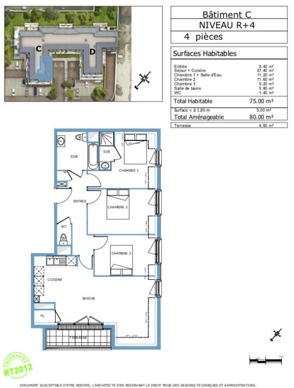 Appartement T4 - 80m2 - dernier étage - DAMMARIE-LES-LYS (77190)