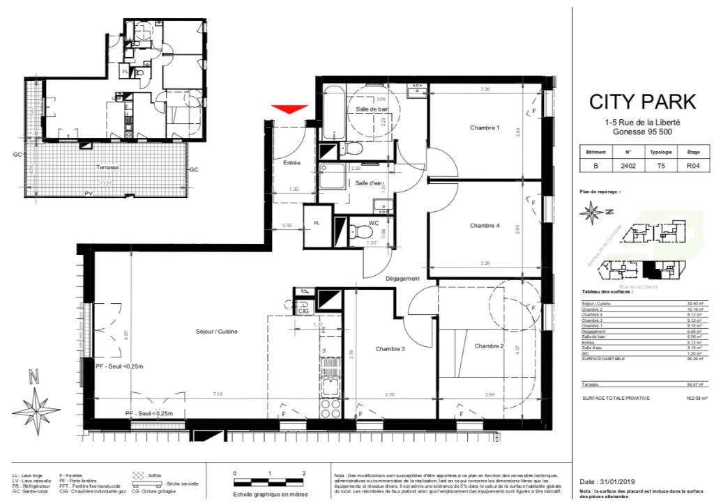 Appartement T5 Attique - Terrasse - 96m2 - 95500 GONESSE