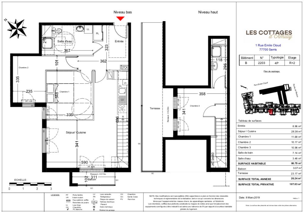 Appartement T4 duplex - 80m2 - 77700 SERRIS