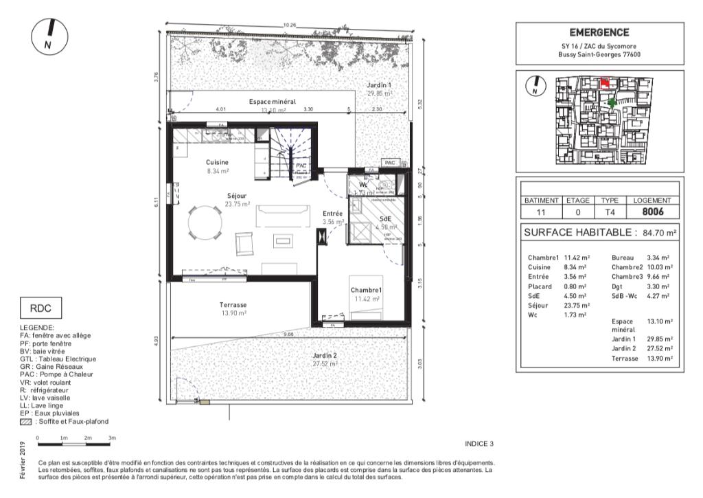 Maisons 4 pièces - 85m2 - BUSSY ST GEORGES (77600)