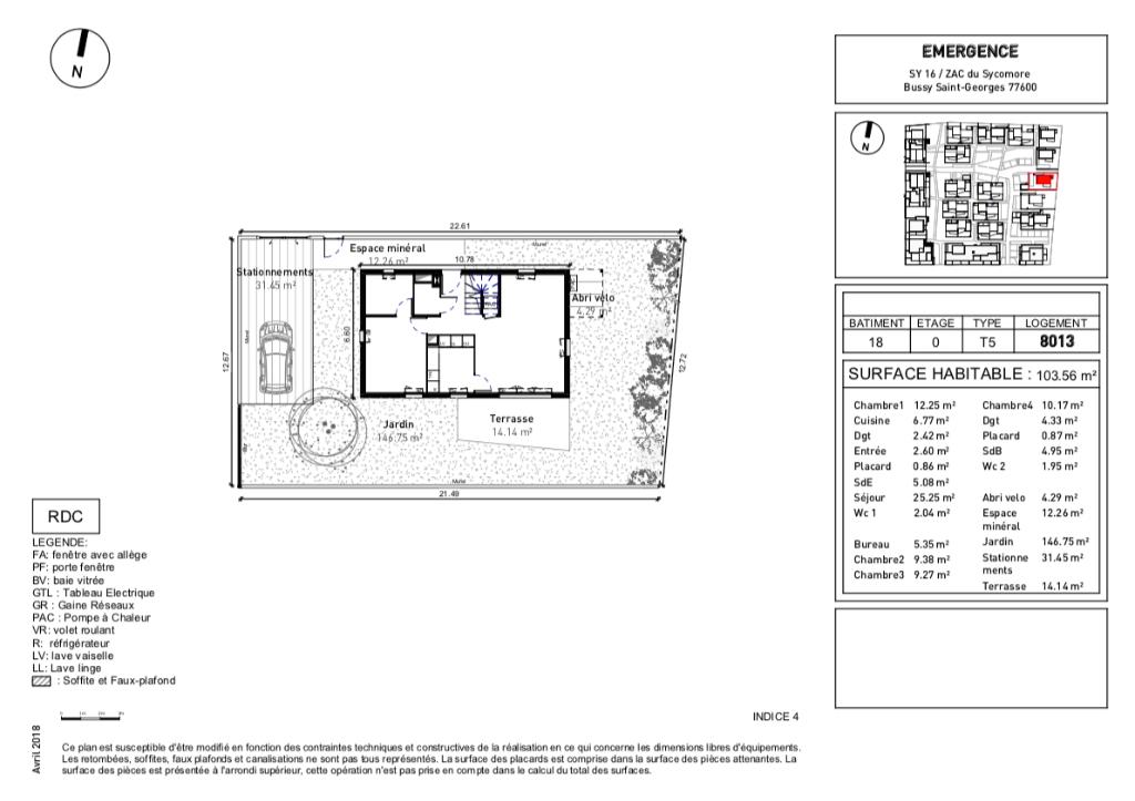 Maisons 5 pièces - 103m2 - BUSSY ST GEORGES (77600)