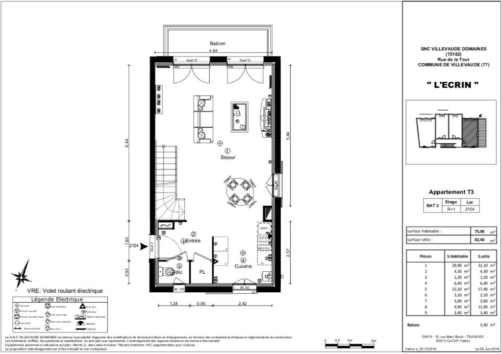 Appartement T3 duplex - 76m2 - VILLEVAUDÉ (77410)
