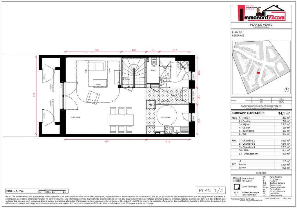 Maisons 4 pièces - 94m2 - COUPVRAY (77700)