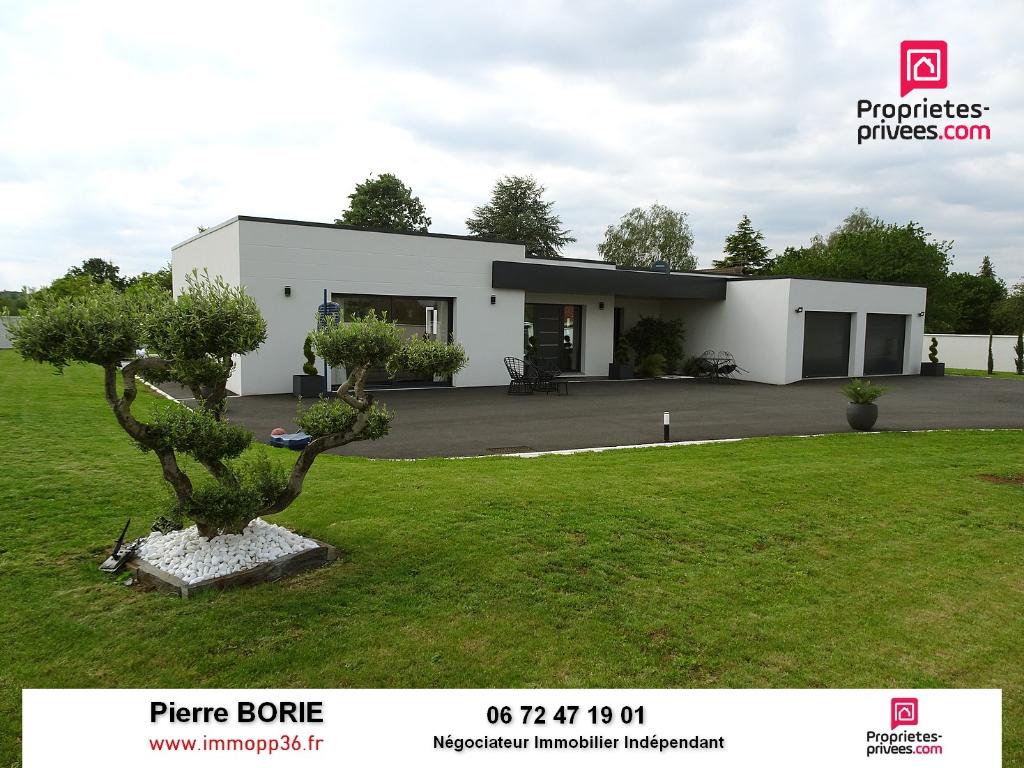 Exclu rare au Poinçonnet : Superbe grande maison de plain-pied, RT 2012, 5 chambres, au calme avec piscine