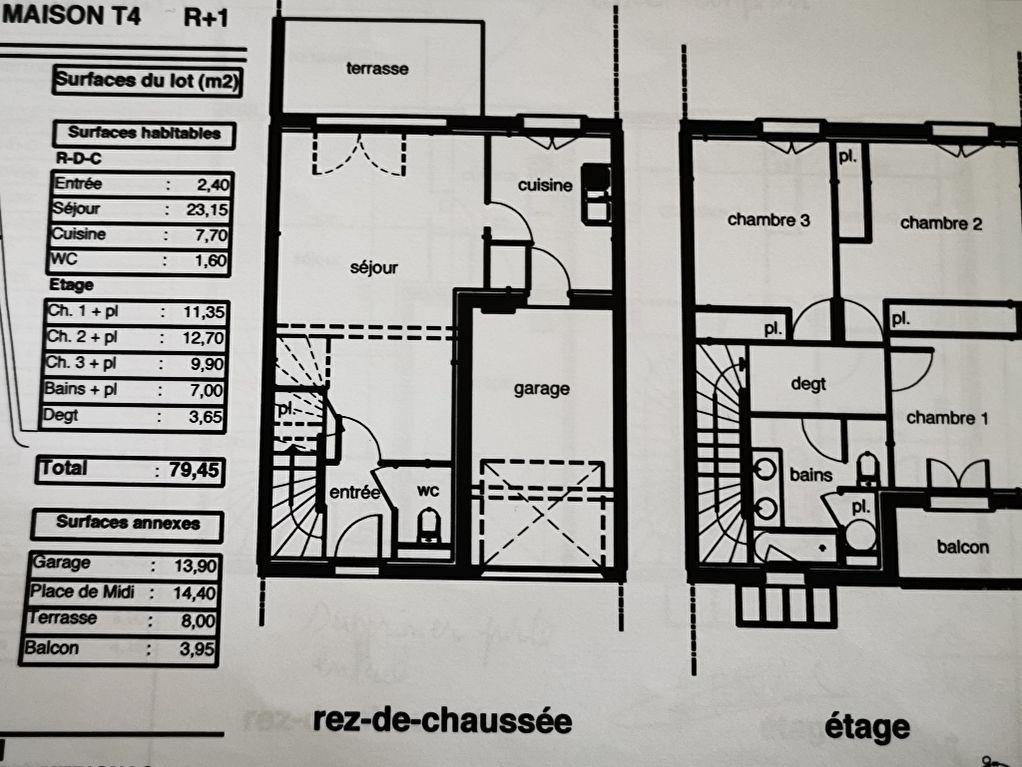 Maison T4  R+1 avec jardin et garage