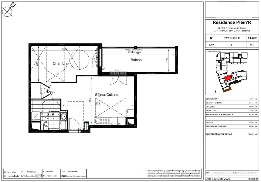 Appartement T2  attique - 43m2 - 77177 BROU SUR CHANTEREINE