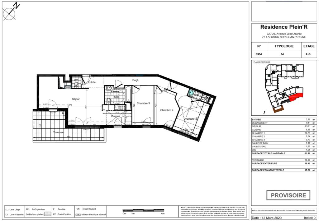 Appartement T4 attique - 81m2 - 77177 BROU SUR CHANTEREINE