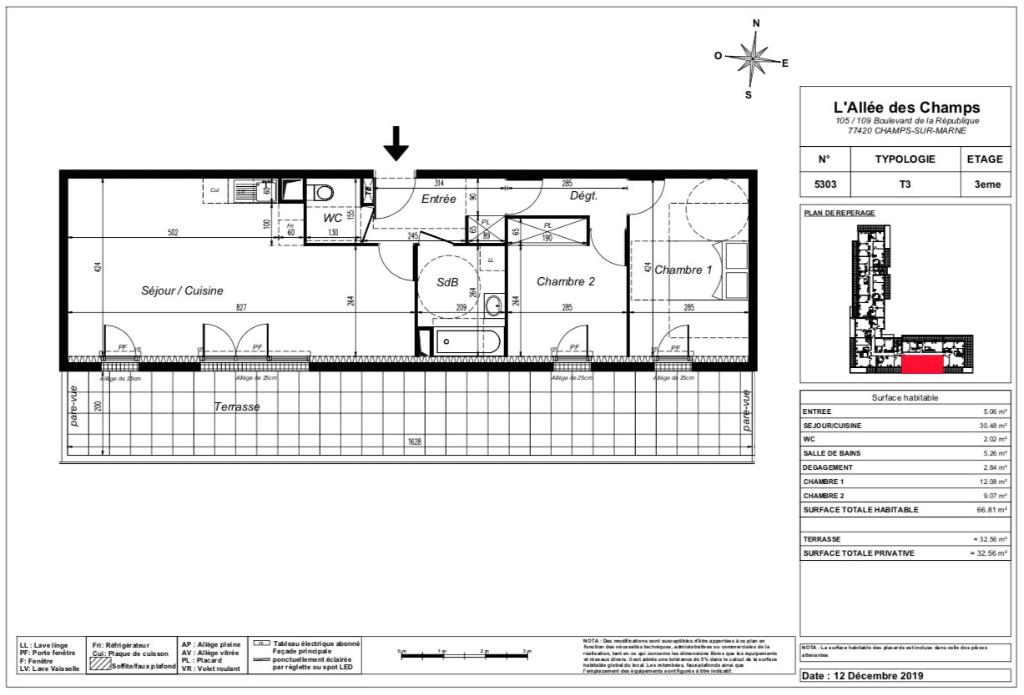 Appartement T3 Attique - terrasse - 66m2 - 77420 CHAMPS SUR MARNE